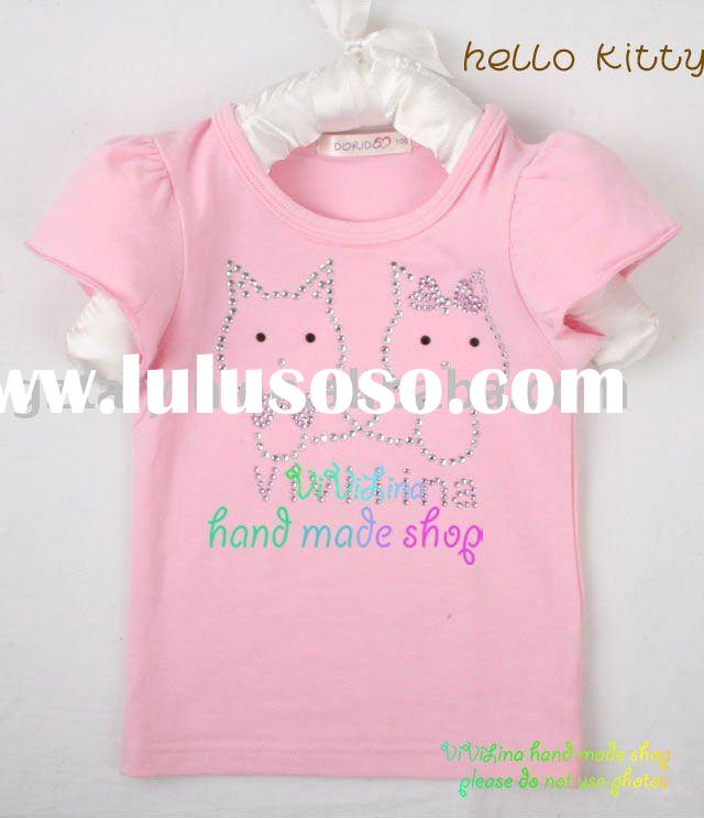 Hot sales!Cute Baby Girls' Hello Kitty Pink T-shirts