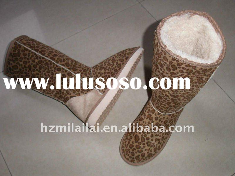 Ladies Fashion Winter Boots Leopard Pattern, Warm Snow Boots with Plush Lining