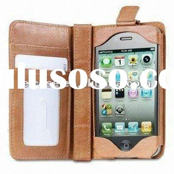 Leather Wallet Case for iPhone 4 Card Holder Flip Cover