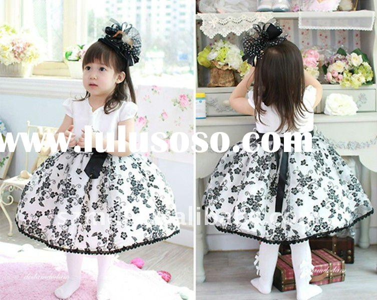 Lovely and nice black and white cap sleeve princess ball gown flower girl dress