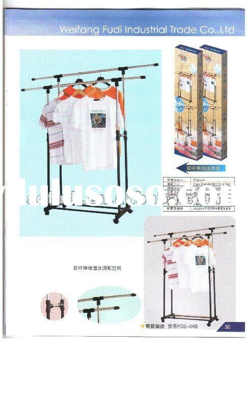 Metal Double-Pole Clothes Hanging Rack with Adjustable Height & Extendable Length