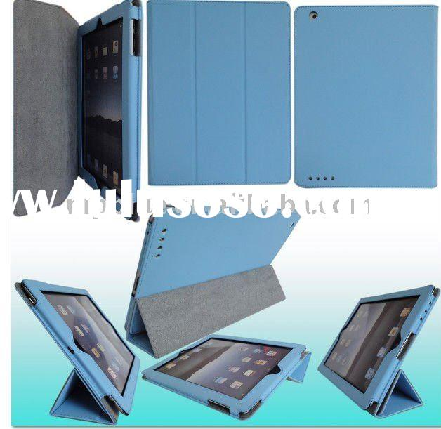 New Smart Cover PU Case tri-fold leather case for iPad 2