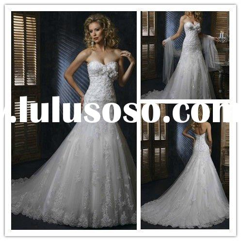 New model best-selling crystal bead lace wedding dress