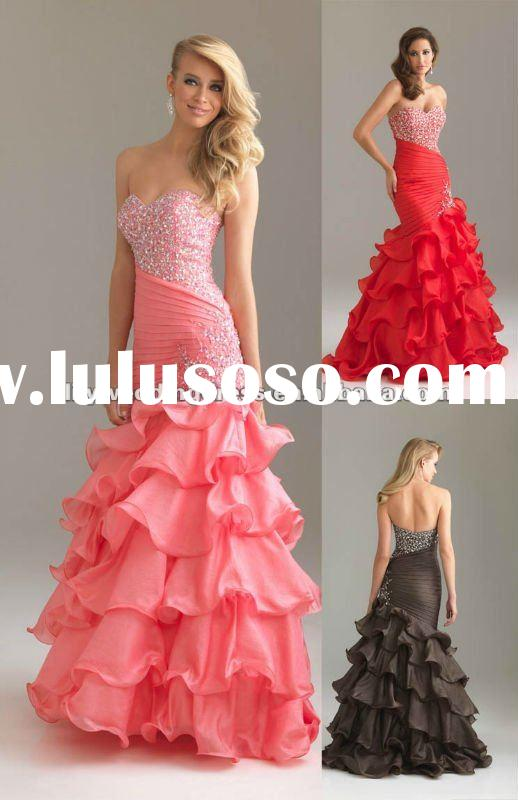 Organza Ruffles Mermaid Prom Dresses 2012