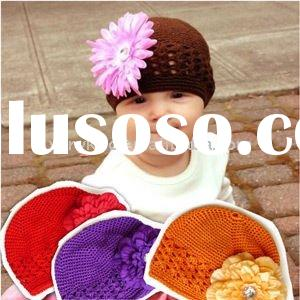 Pretty Newborn Baby Crochet Beanie Kufi Hats with Peony Flower