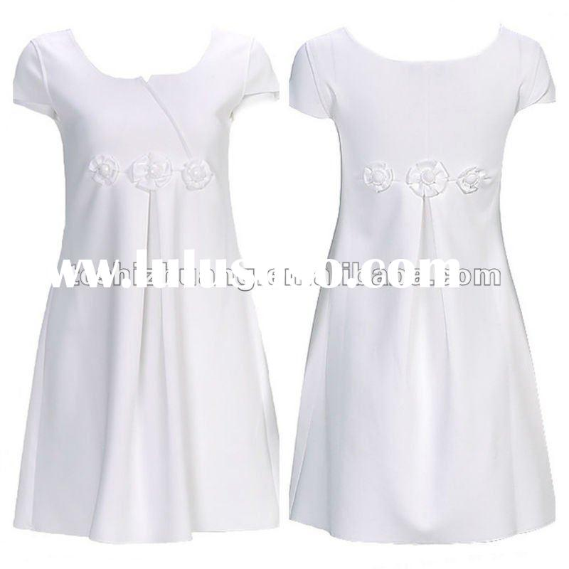 Small MOQ, 100% cotton short sleeve round neck high wastline lady dress cotton design