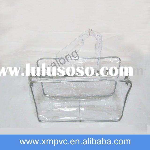 Transparent pvc cosmetic box with handle for promotion XYL-C312