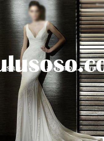 Two-shoulder Straps V-neck Court Train Lace Mermaid Wedding Dress