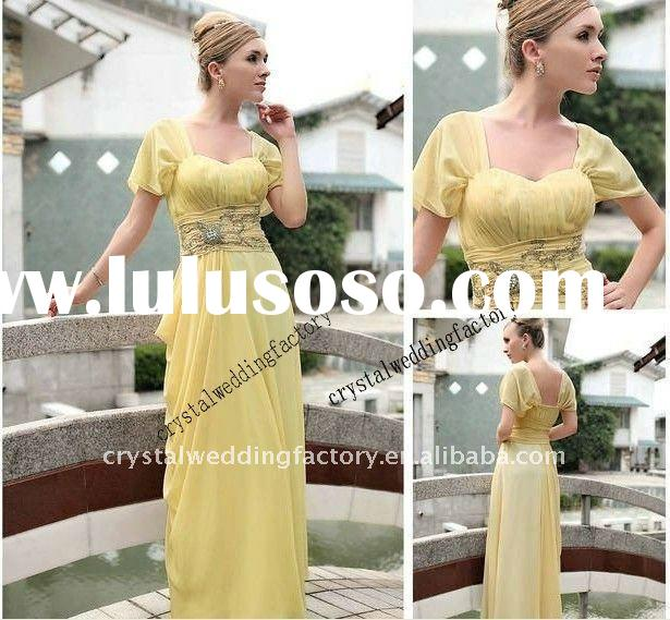Unique short sleeve beaded chiffon yellow custom-made evening dress CWFae3063