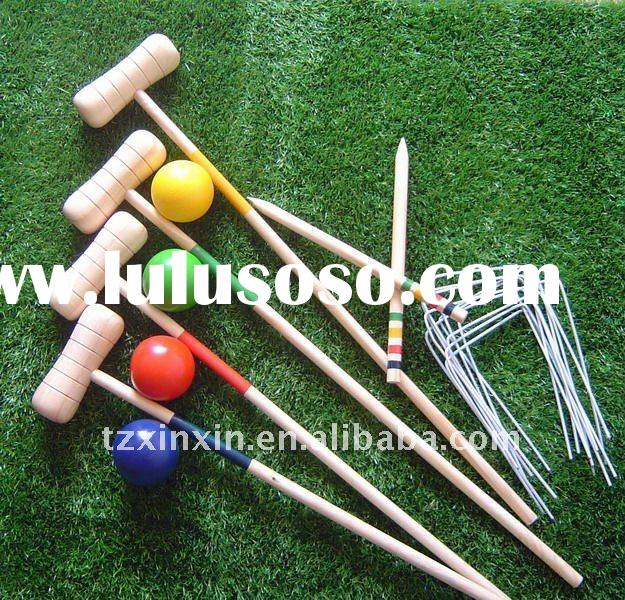 Wood Croquet With Four Pieces Mallet And Wooden Balls Sports games Kids games hot games Games for ch