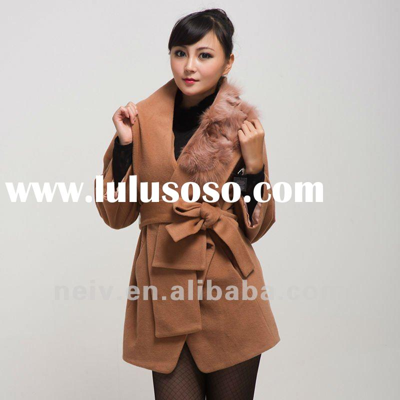 Wool cashmere women coat,fox fur,belted DF1341