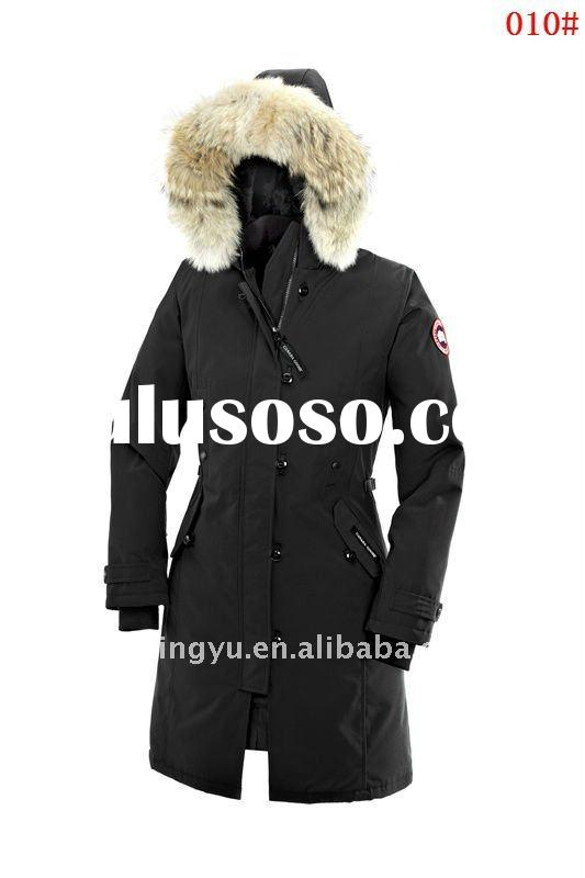 animal fur collar winter long down coat for lady 2012 canada fashion coat and jacket wholesale and r