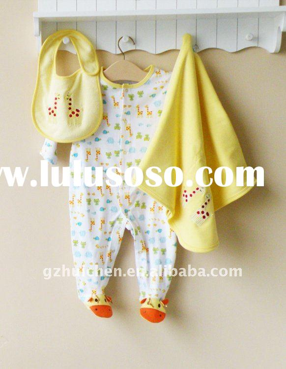 baby clothes 100% cotton clothing set romper 3pcs