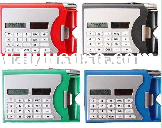 digital solar namecard calculator with pen and business card holder