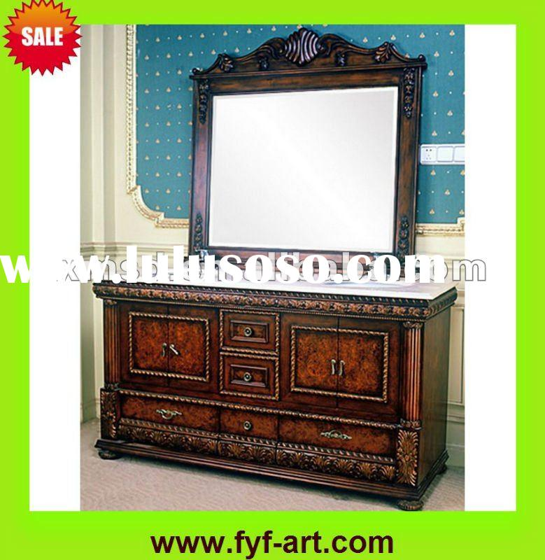 discount wood bathroom vanity cabinet with french style carved design