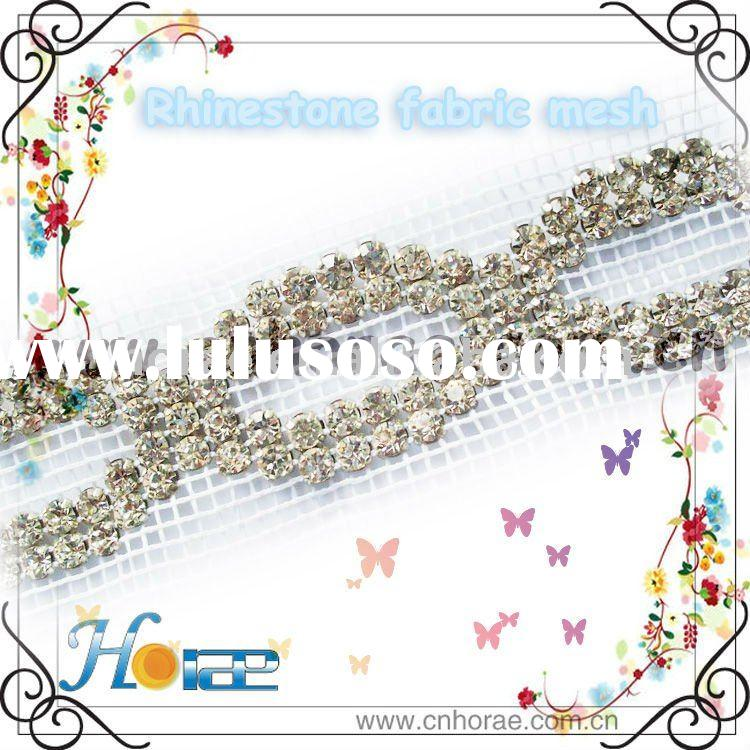 fancy crystal rhinestone trimming with fabric mesh for garment embellishment