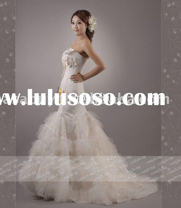 fishtail wedding dresses Landybridal Own Model Lace wedding dresses--LD0354(Best Qquality)