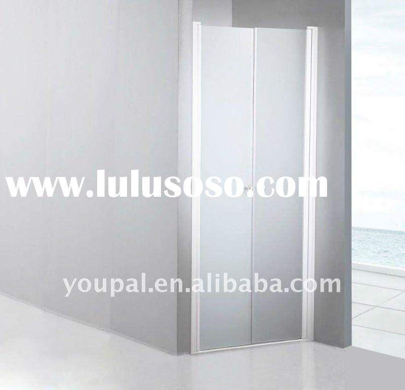 frameless shower door , with the bilateral pivot door,aluminum alloy backing profiles