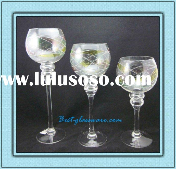 hand made long-stemmed glass candle holders