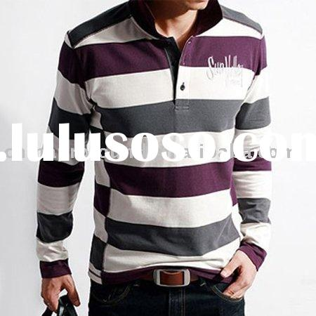 hot! 100% cotton stripe polo shirts for men (OEM service)