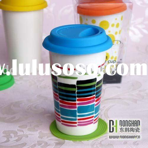 insulated ceramic double wall mug with silicon lid