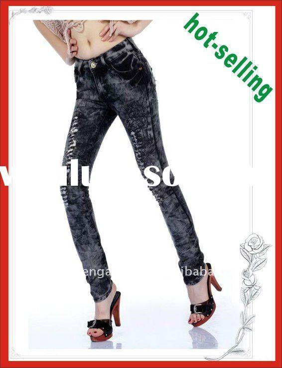 ladies top brand name jeans, denim jean pants with snow washing fashion in 2011