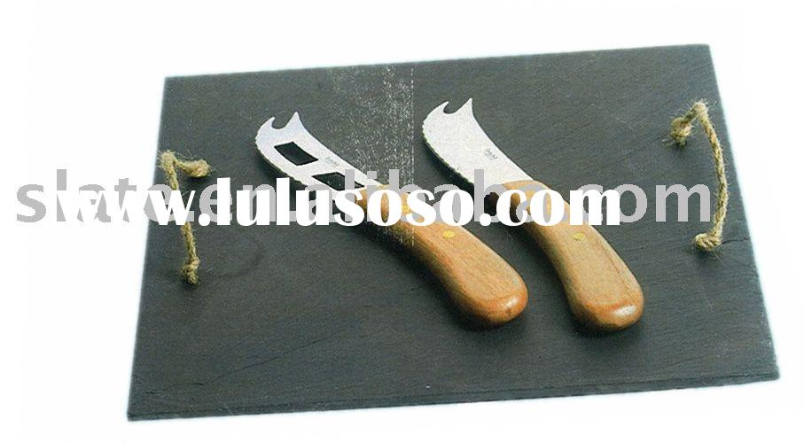 natural slate serving food trays with hemp rope handles
