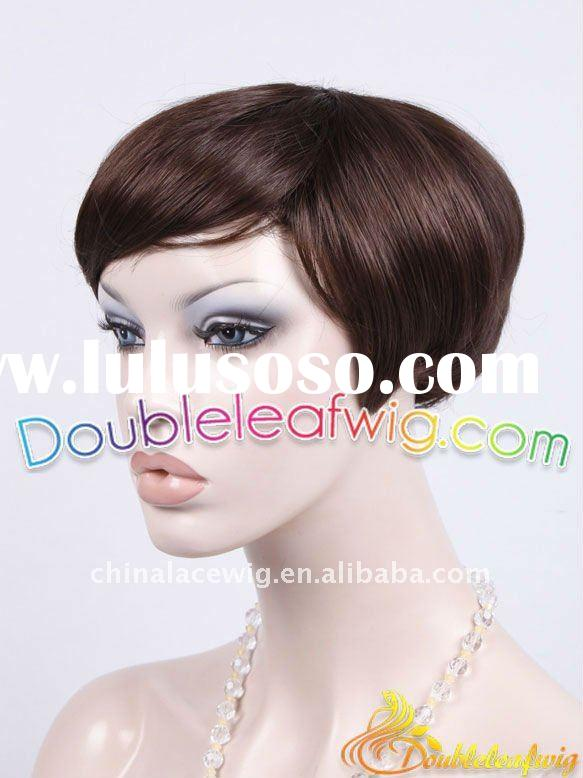 wholesale short Indian human hair full lace wig with baby hair