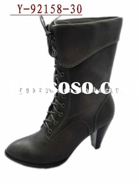 women high heel leather ankle boots