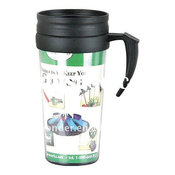 16OZ double wall plastic travel mug with insert paper for adverttisement