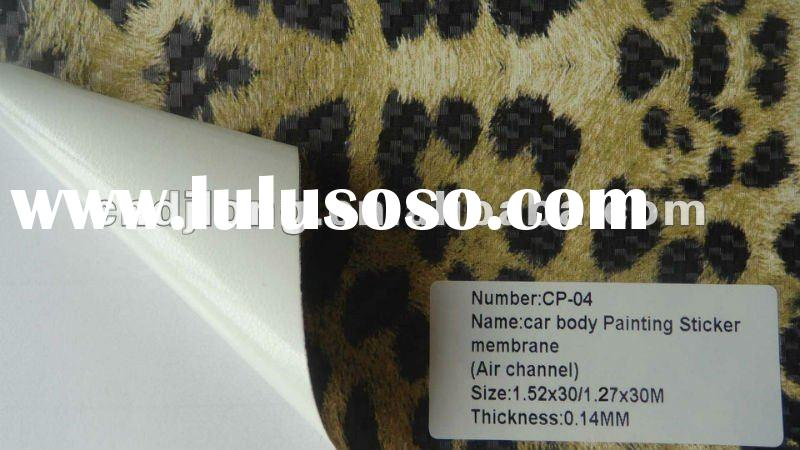 1.52/1.27*30m 3D Carbon Fiber Vinyl sticker with Air channels (leopard)