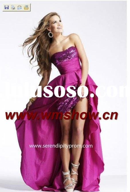 2011 Latest Style Hot Pink Front Short And Long Back Evening Dress