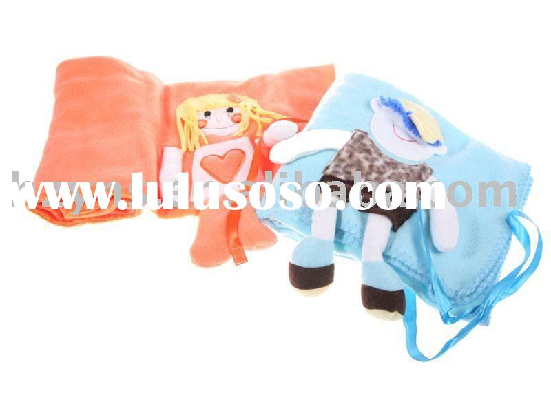 2012 cute animal embroidered polar fleece baby blanket