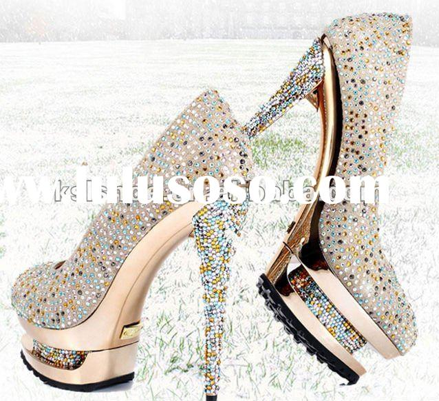 2012 new design attractive high heel shoes with popular style and wholesale price