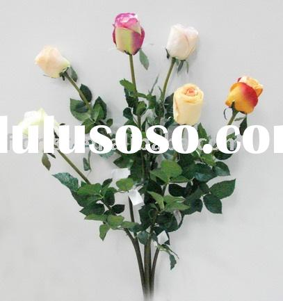 "27""Single Rose Bud artificial polyester flower fake flower silk fower handmade plants outdoor a"