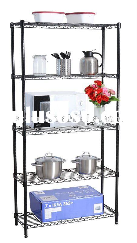 5 level powder coated wire shelving for home use