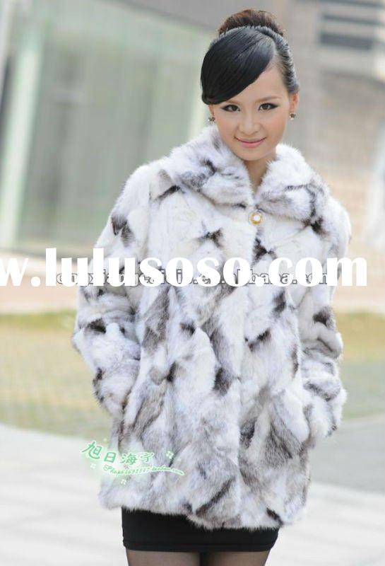 CD042 2012 most fashion short style white mink fur coat for lady