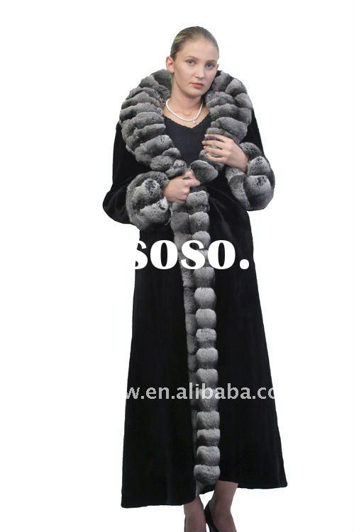 Chinchilla fur collar, rex rabbit coat FG1399