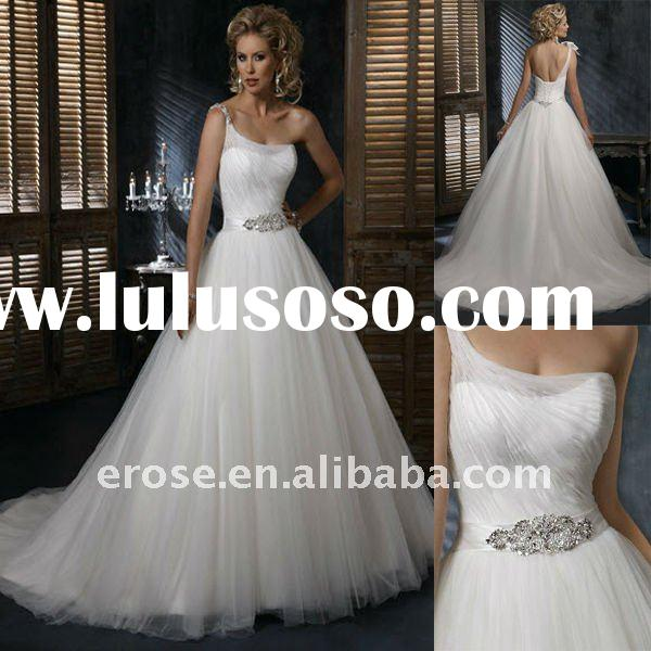 Classic Beaded One Shoulder Chiffon Wedding Dress MG-A029