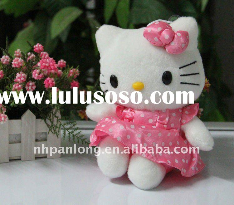 Cute pink dressed plush cat with bowknot plush toy plush wedding toy plush animals big eyes