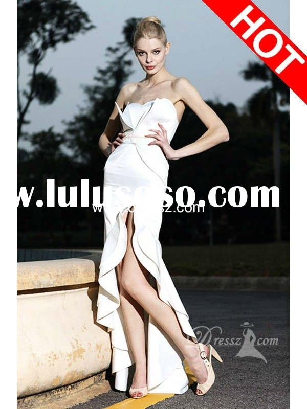 Elegant Strapless Appliques Waist Leg Slit Wedding Dress With Ruffles And Open Back