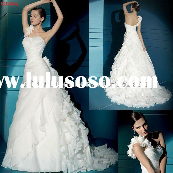 Elegant Sweetheart Floral One Shoulder Ruche Bodice Side-wraped Pleated Organza Bridal Wedding Dress