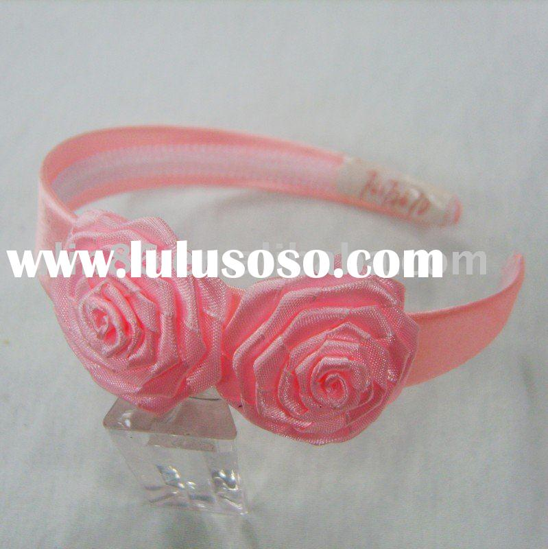 Fashion satin wrapped plastic headband of ribbon flowers