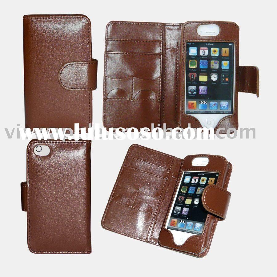 For iphone4g leather cases wallet design with card slots