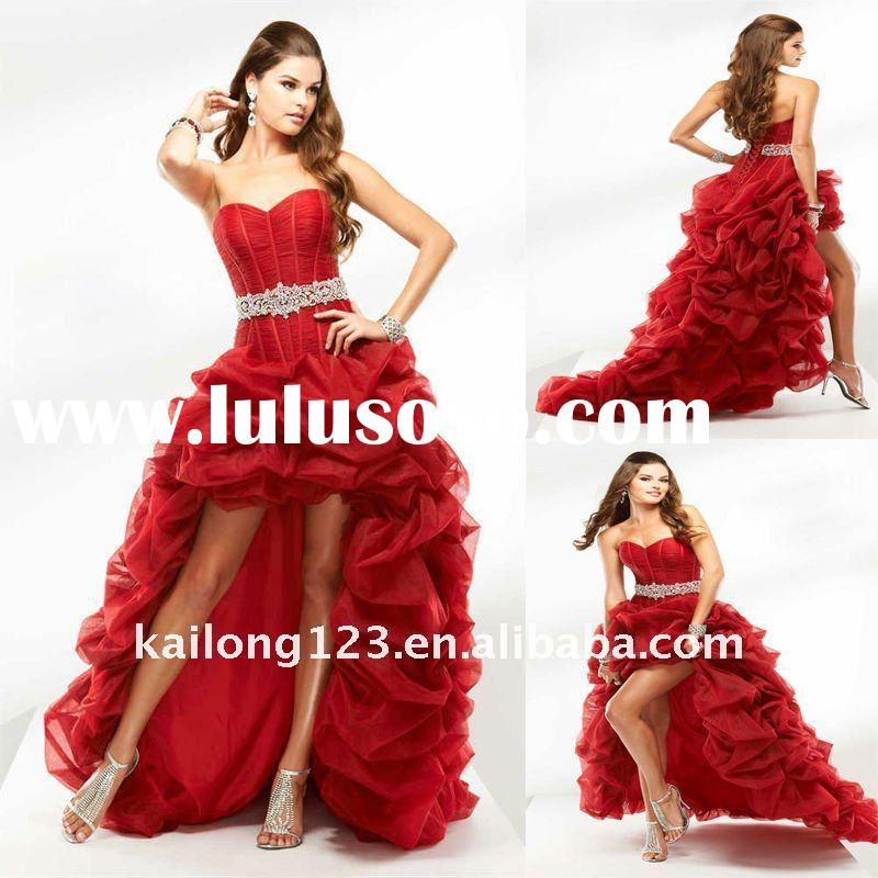 High Fashion Short Front Long Back Pick Up Red Prom Dresses