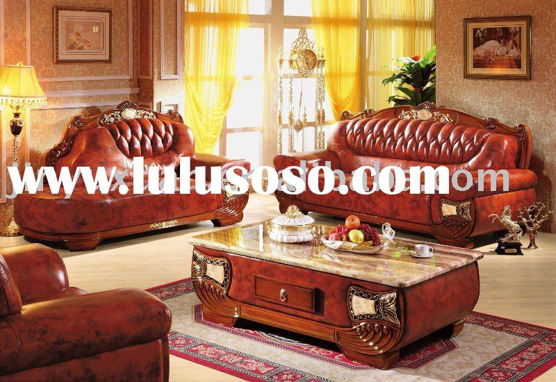 Home Use High Class Living Room Furniture European New Classical Wooden Leather Sofa with Lounge Cha
