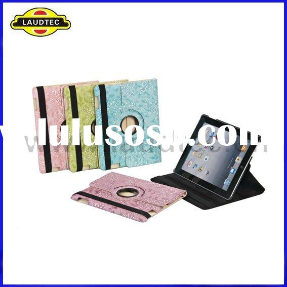 Leather Case for New iPad 3 HD, 360 Degree Roation Floral Design Flip Cover---Laudtec