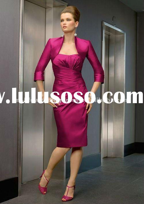 M2074 latest modest knee length pink cheap mother of bridal jacket dresses