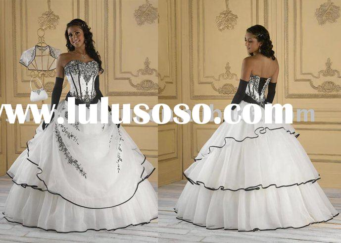 NB371 Fashion White & Black Embroidery Ball Gown Wedding Dress