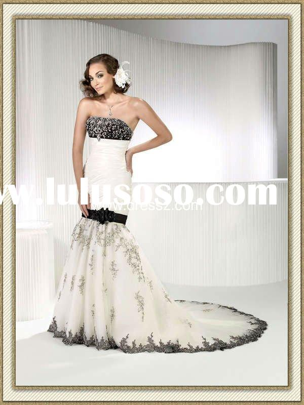 New Detachable Strapless Black And White Mermaid Wedding Dress 2012 With Sash